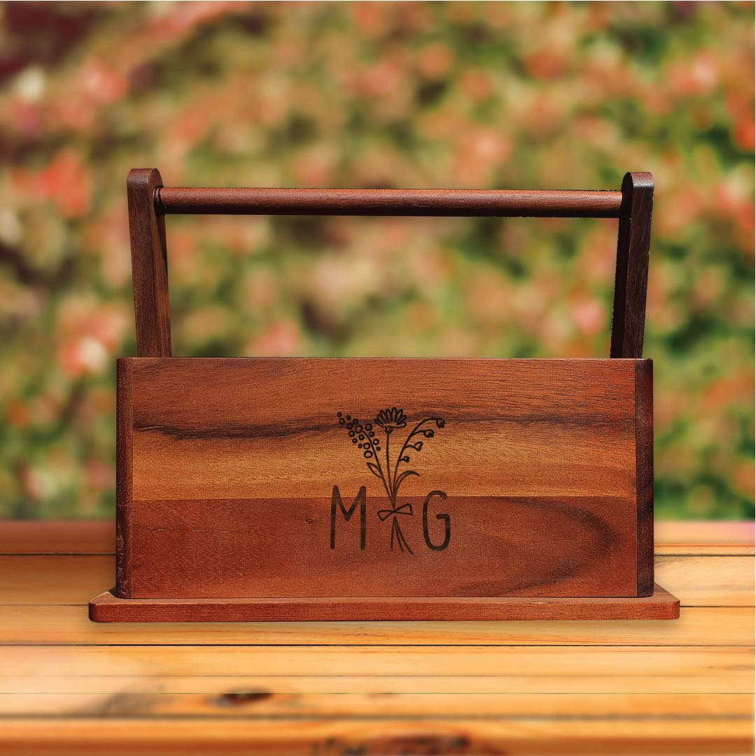 Personalised Wood BBQ Condiment Caddy - Flower Bunch