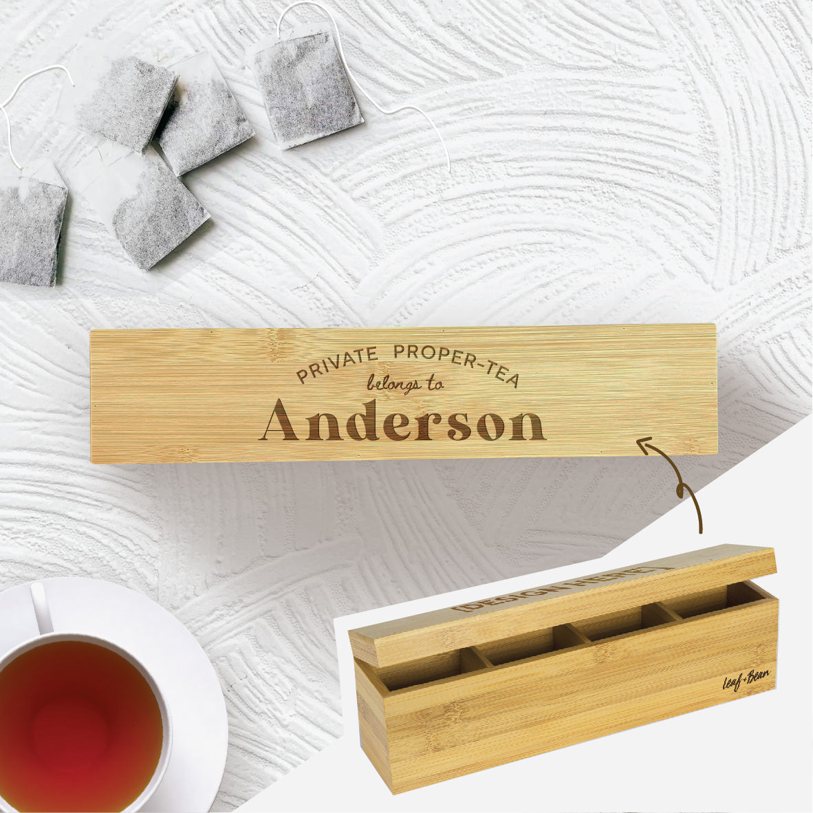Personalised Bamboo Tea Box - Proper-tea
