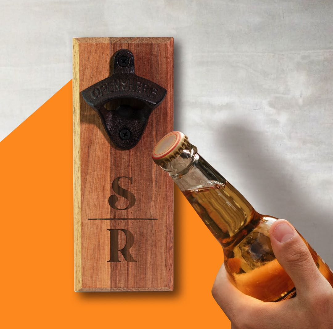 Personalised Wall Mount Bottle Opener - Classic Initials