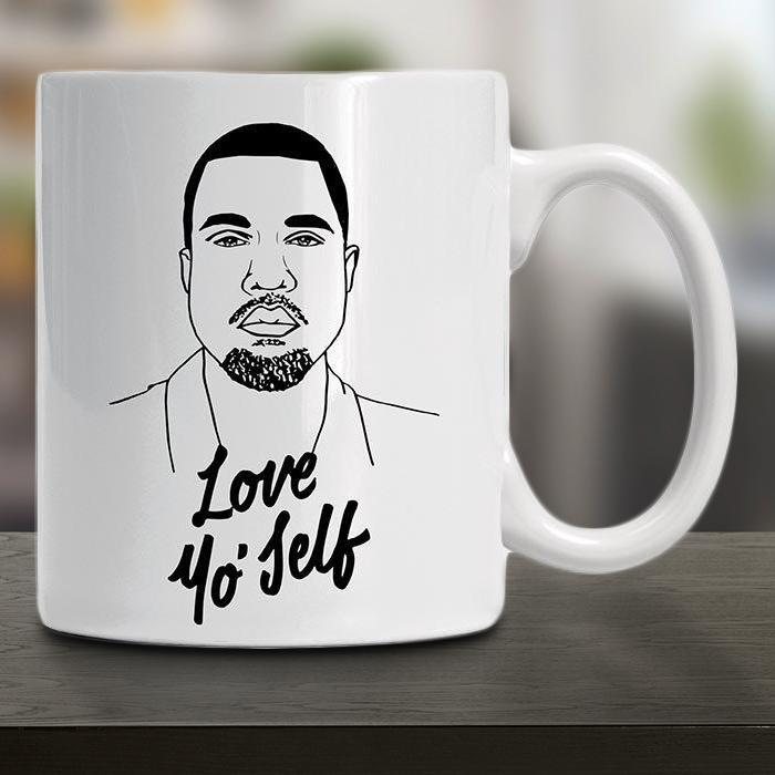 Kan-Yay Love Yo' Self Ceramic Mug - - Famous Flames - Yellow Octopus