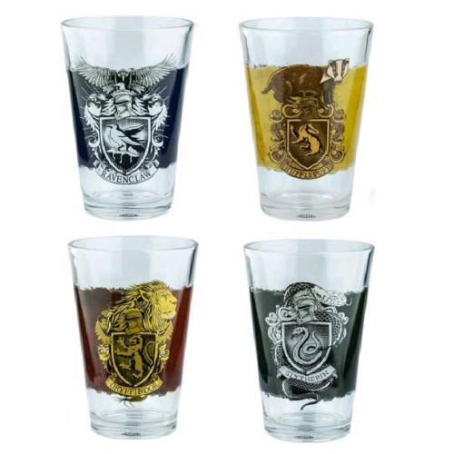 Harry Potter Set Of 4 Hogwarts Drinking Glasses - - Harry Potter - Yellow Octopus