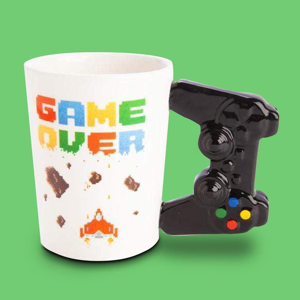 Gamer Mug With 3D Controller Handle - - mdi - Yellow Octopus