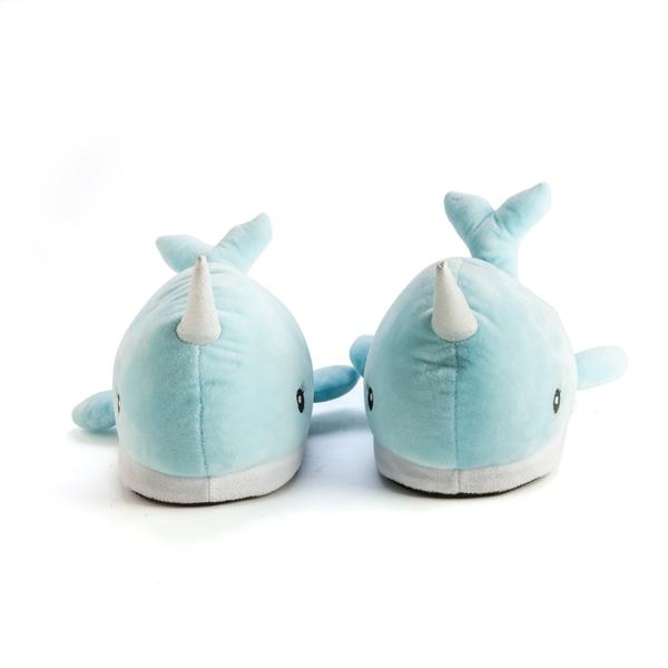 Plush Glittery Narwhal Slippers