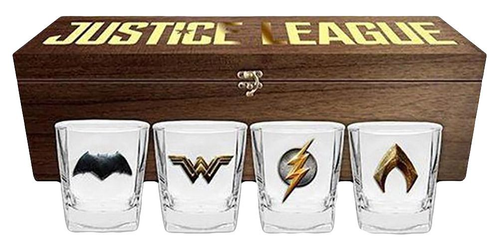 DC Comics Justice League Spirit Glasses Set + Wooden Box - - DC Comics - Yellow Octopus