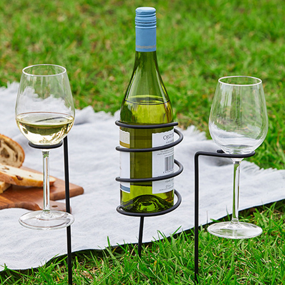 Picnic Wine Set - Bottle & 2 Glass Holders