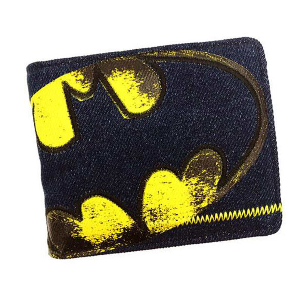 Batman Distressed Black Denim Bi-Fold Wallet