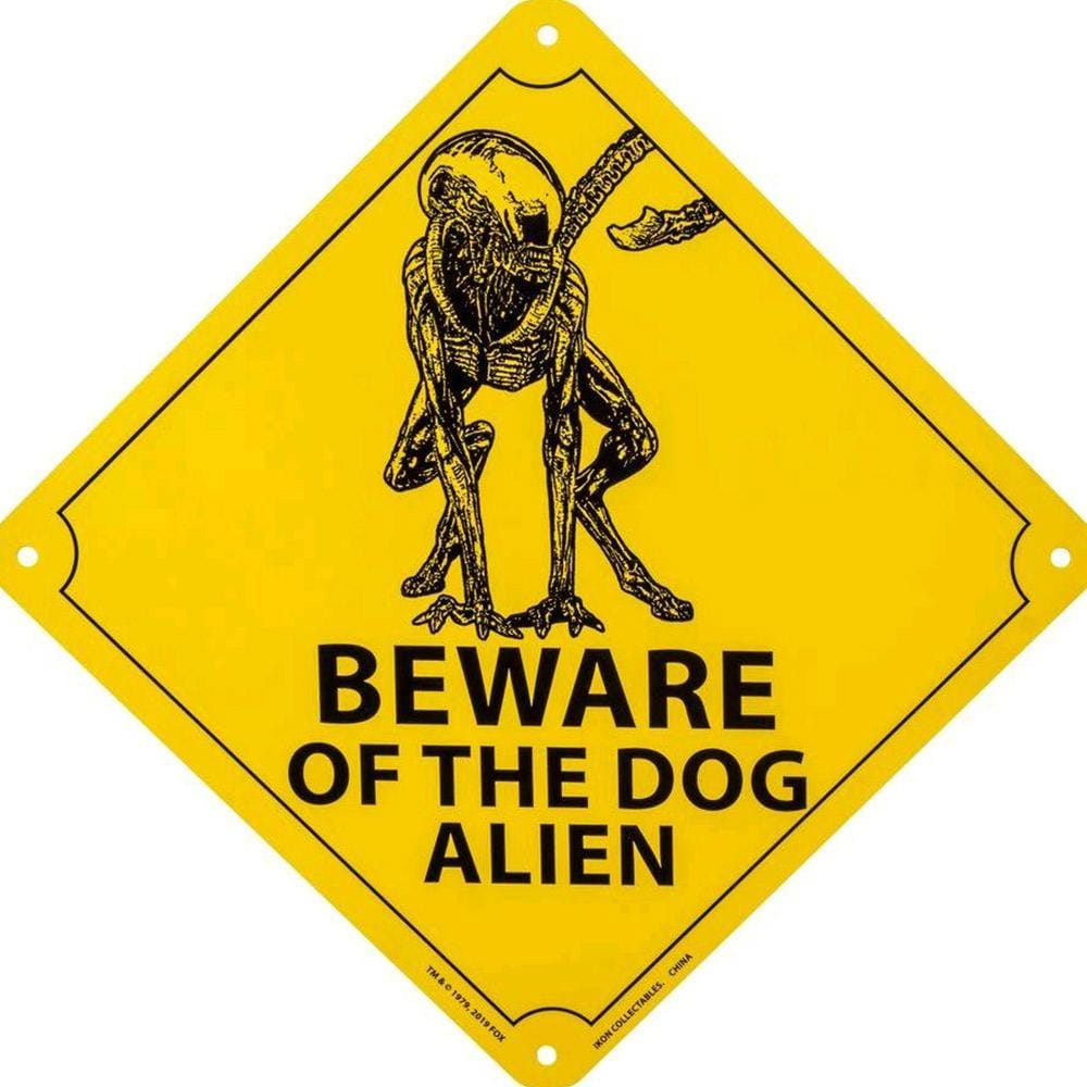 Beware of the Dog Alien Sign - - Ikon - Yellow Octopus