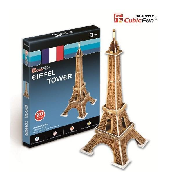 Eiffel Tower 3D Puzzle 20pc - - Cubic Fun - Yellow Octopus