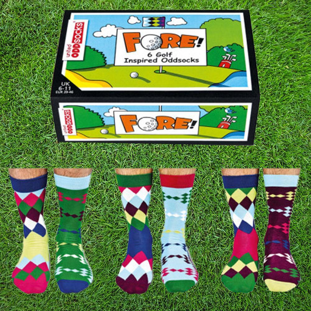 Fore! Mens Golf Odd Socks - 3 Pairs - - United Odd Socks - Yellow Octopus