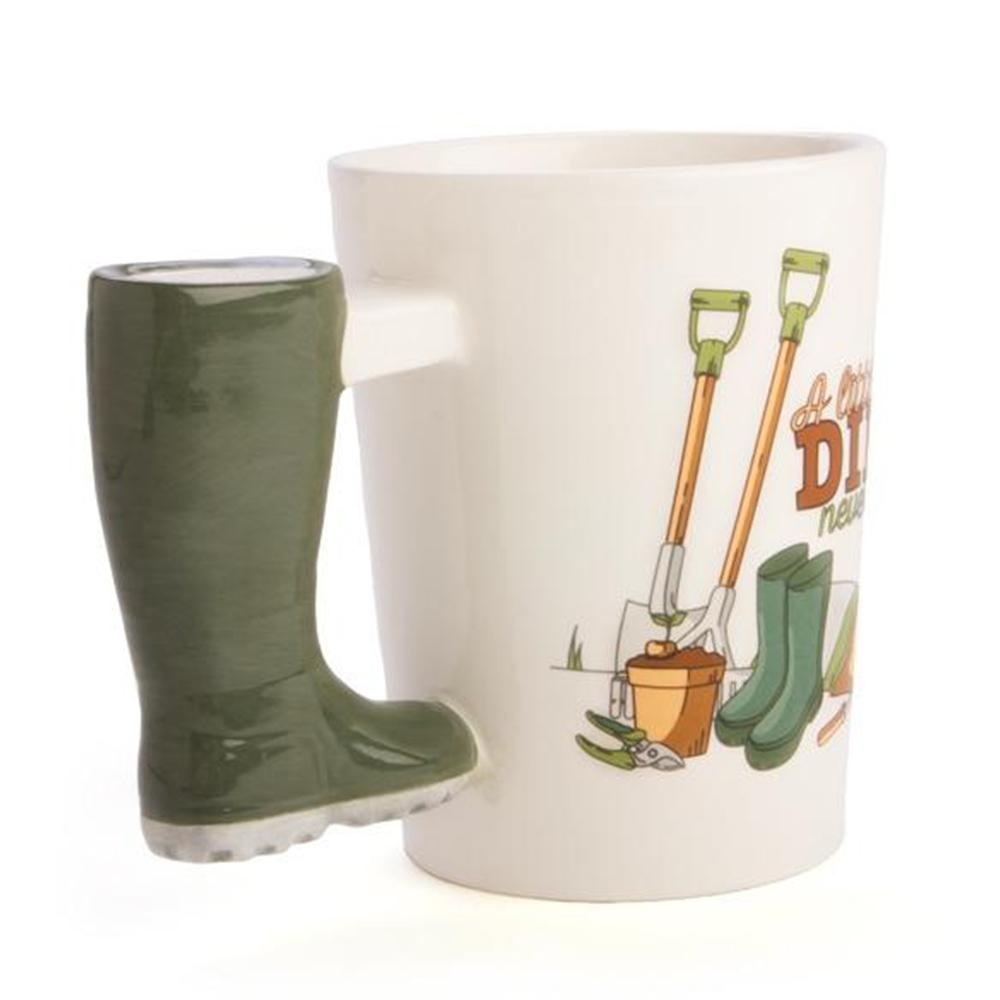 A Little Dirt Never Hurt Gardener Gumboot Mug - - mdi - Yellow Octopus