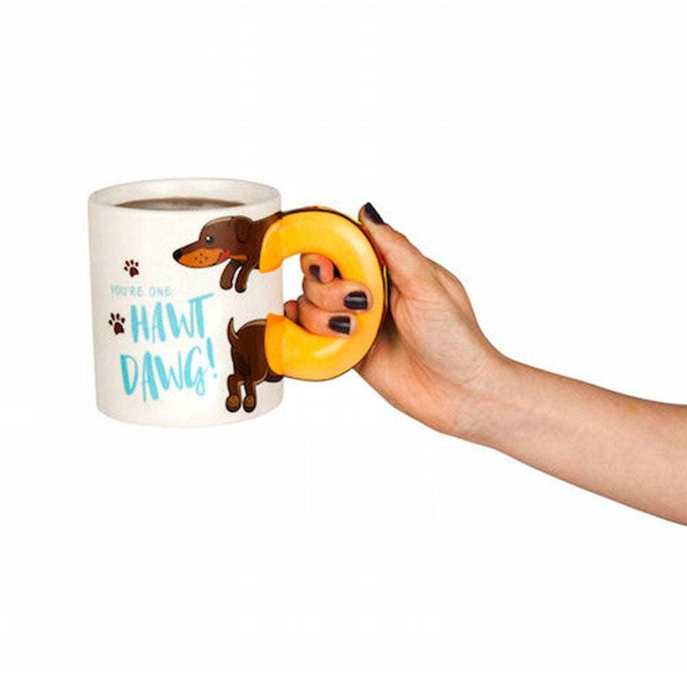 You're a Hawt Dawg! Sausage Dog Handle Mug - - Big Mouth Inc - Yellow Octopus