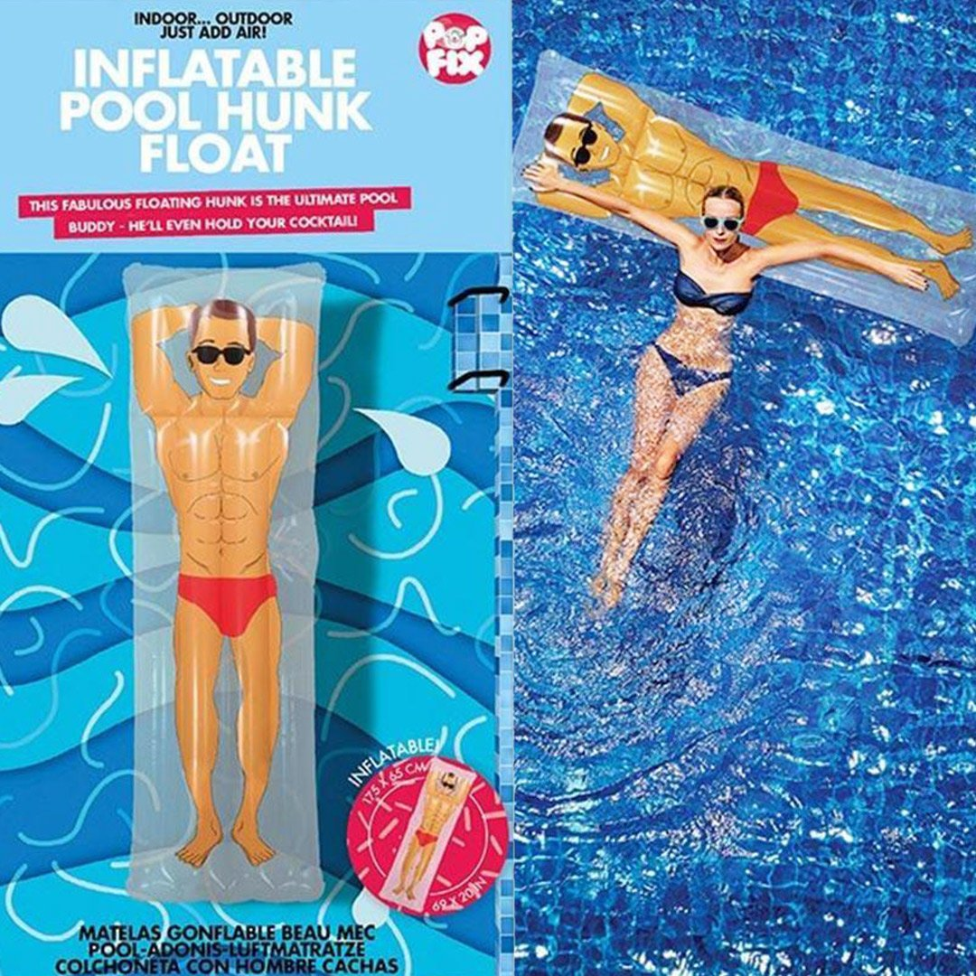 Inflatable Hunk Pool Float With Drink Holder