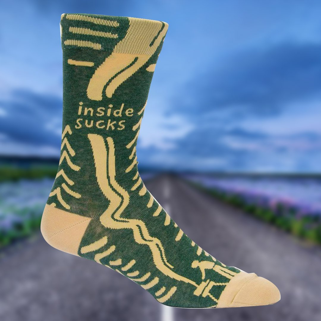 'Inside Sucks' Mens Crew Socks - - Blue Q - Yellow Octopus