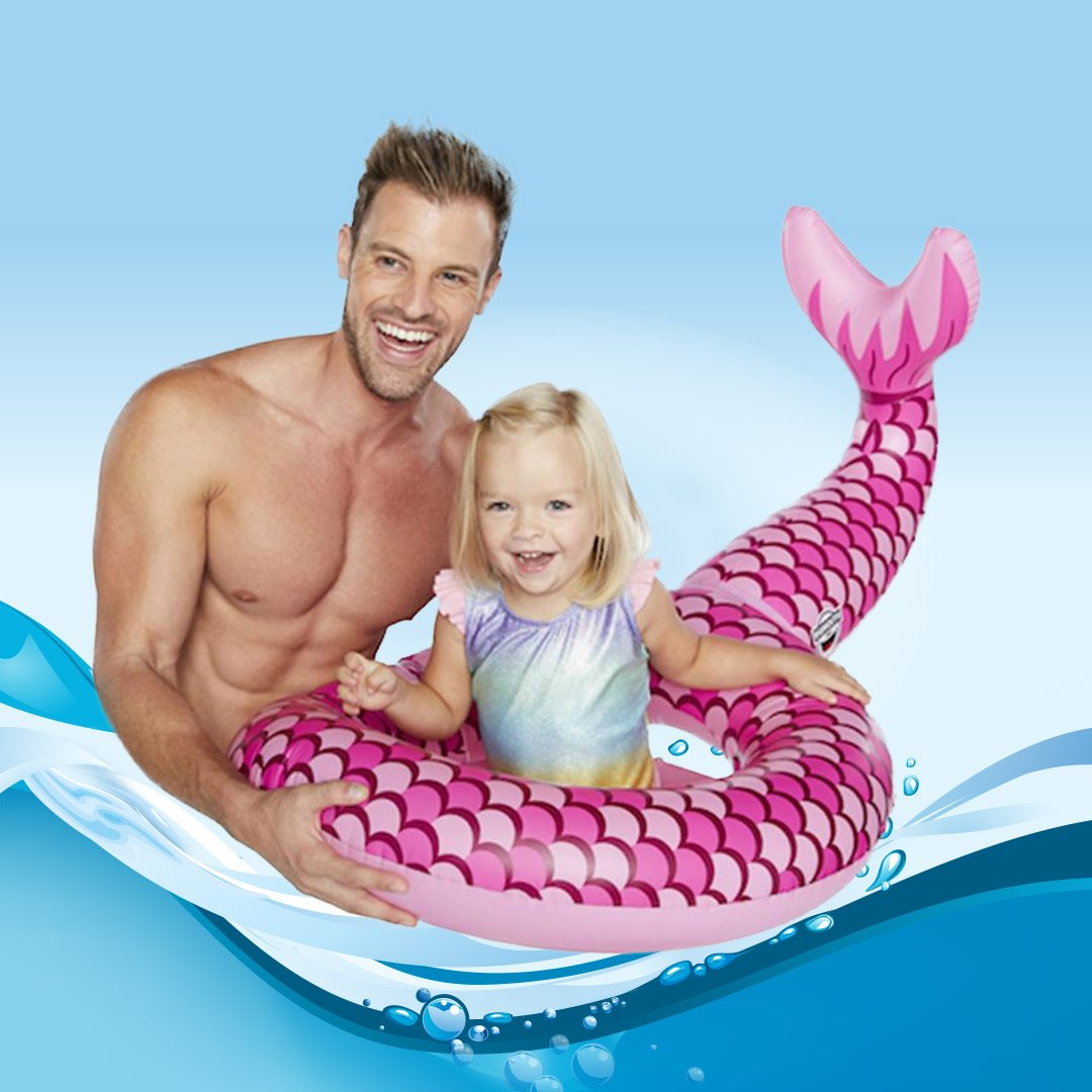 Kids Mermaid Tail Pool Ring Float