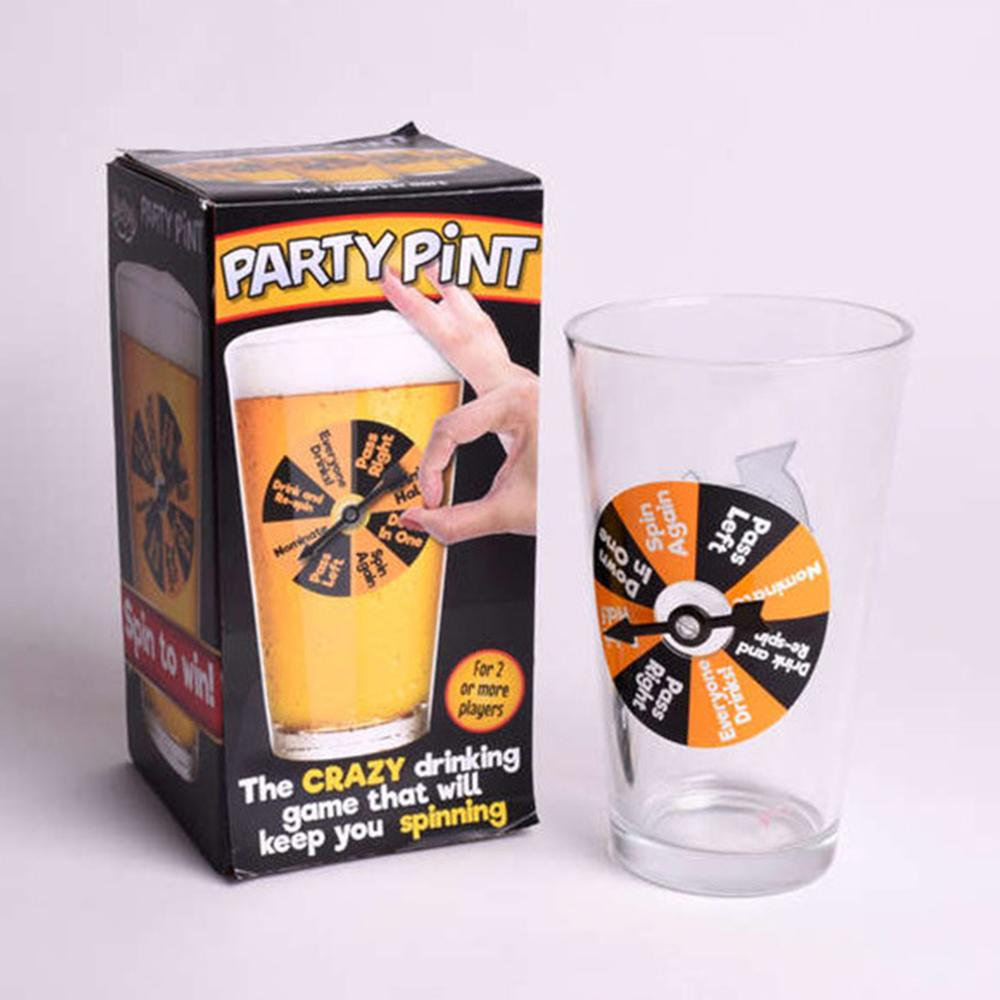 Party Pint Glass Spin-To-Win Drinking Game - - Blue Sky Studios - Yellow Octopus