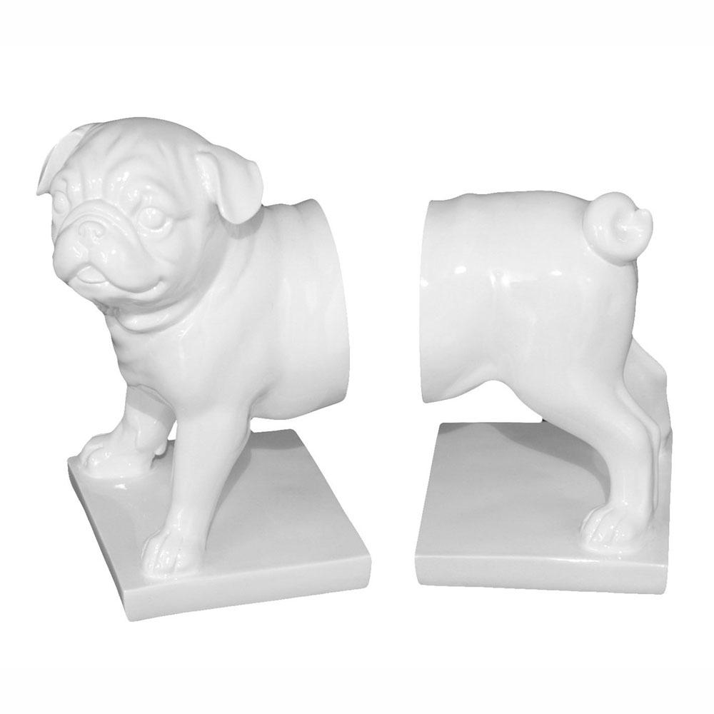 Pug Dog Bookends - White - - kuyesa DESIGN - Yellow Octopus