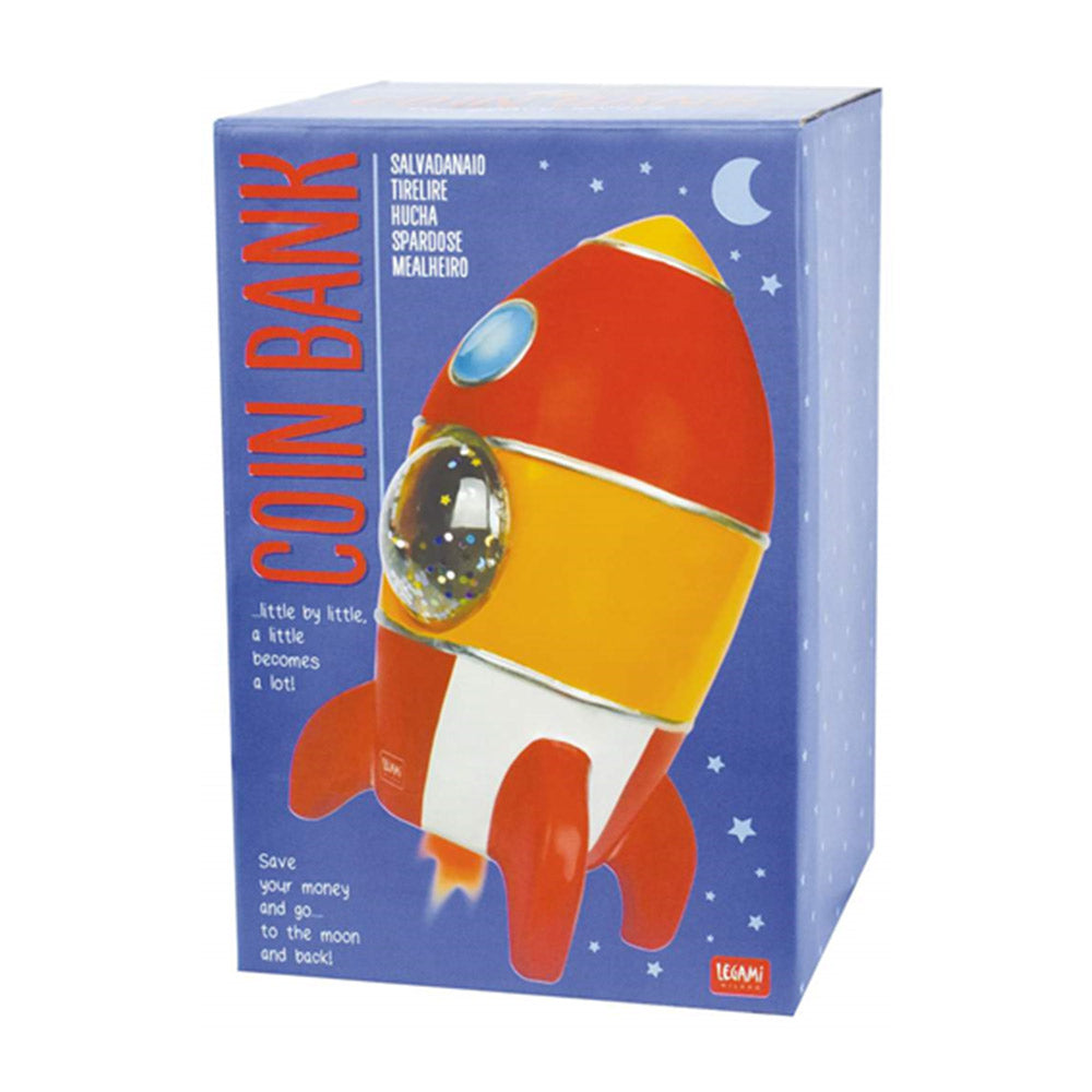 Cute Rocket Coin Bank With Glitter