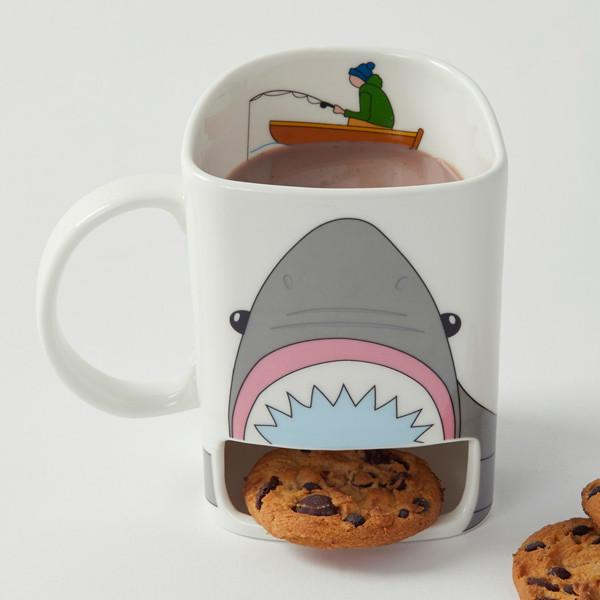 Shark Attack Mug With Cookie Shelf - - Giftworks - Yellow Octopus