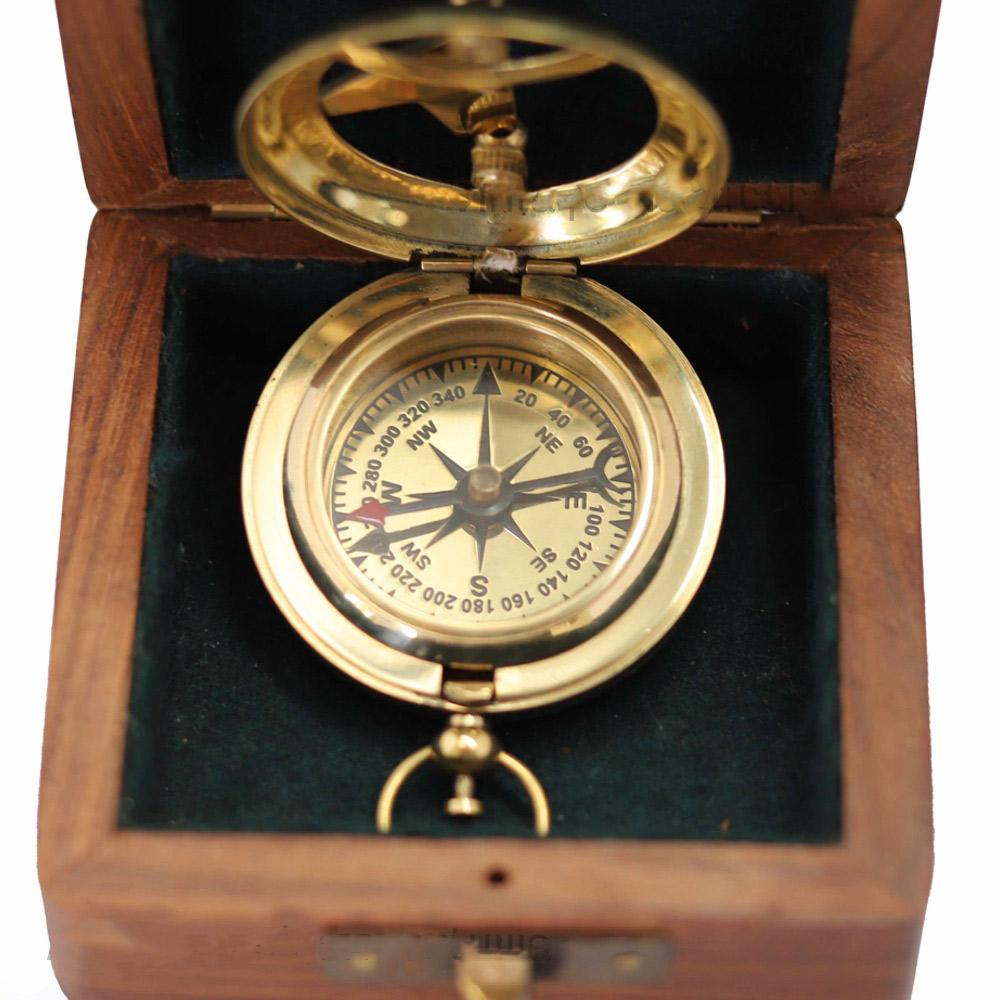 Nautical Brass Sundial Compass with Push Button - - Vintage Nautical - Yellow Octopus