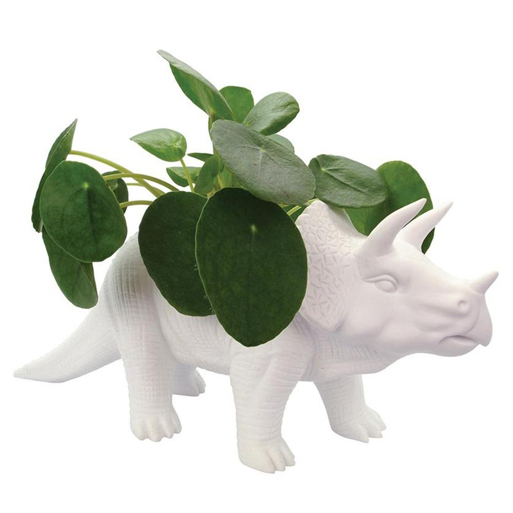 Triceratops Ceramic Dinosaur Planter Pot 15cm - - Bitten - Yellow Octopus