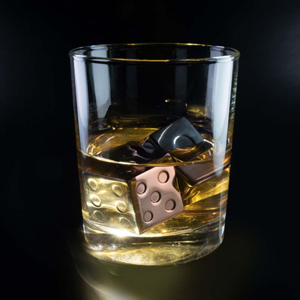 Stainless Steel Dice Whiskey Cubes + Carry Pouch - - MDI - Yellow Octopus