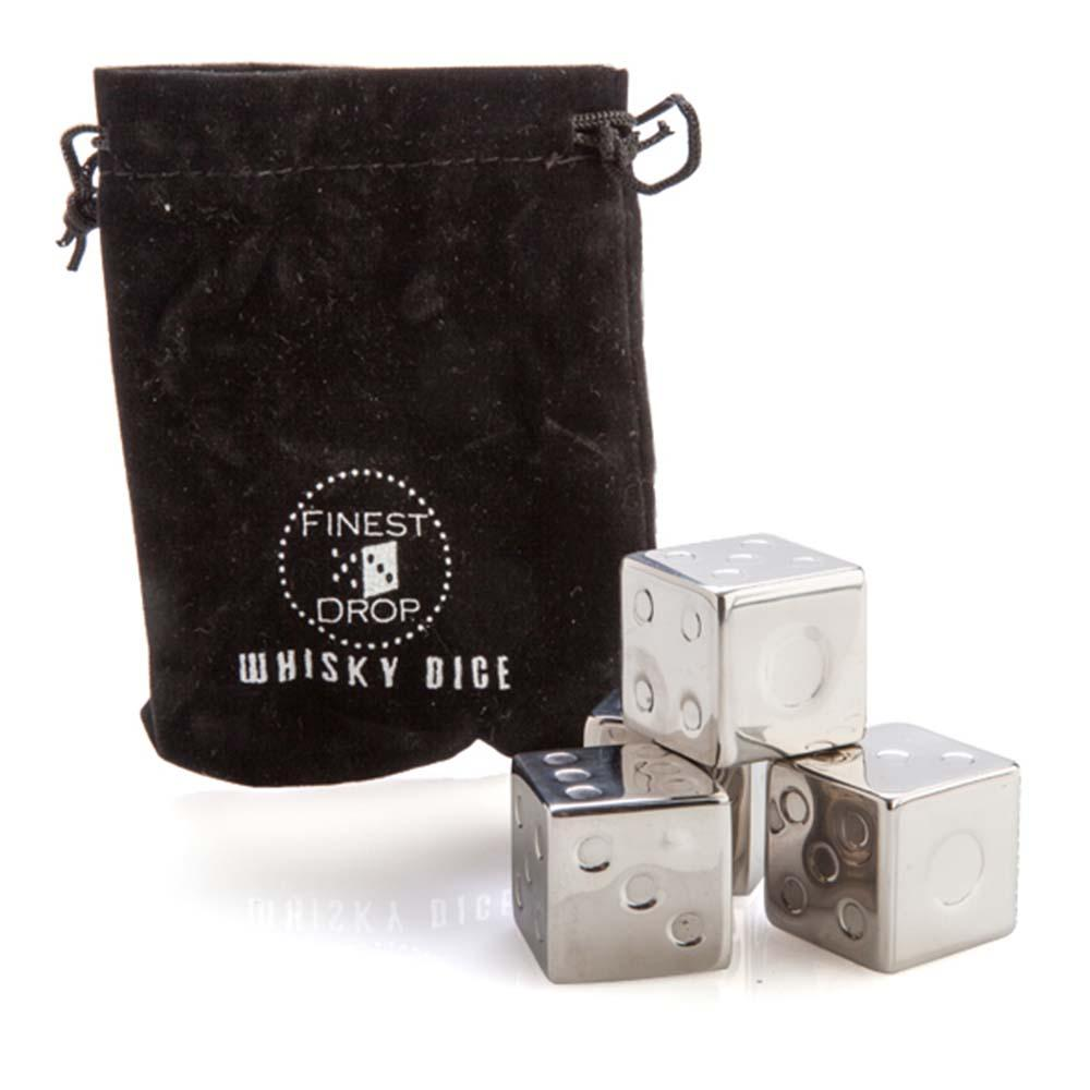 Stainless Steel Dice Whiskey Cubes + Carry Pouch
