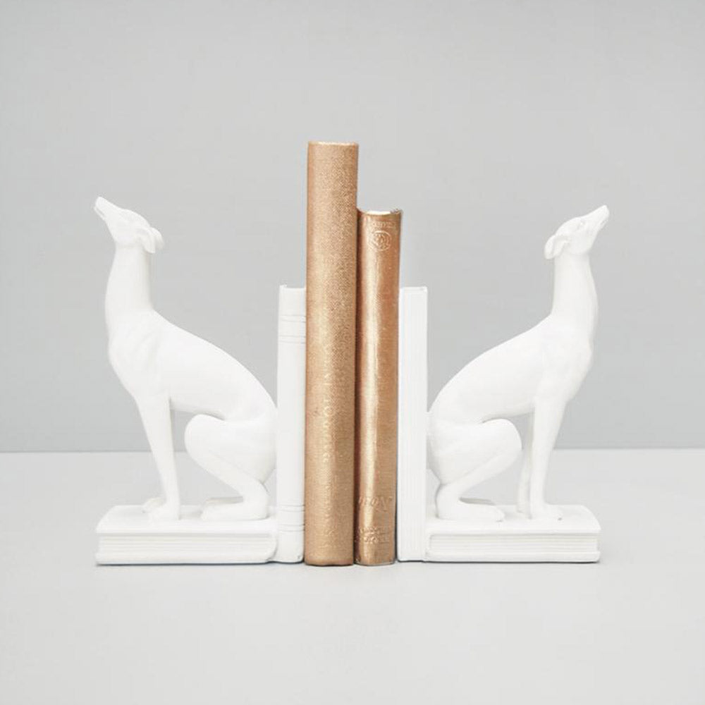 White Greyhound Bookends Set of 2 | White Moose