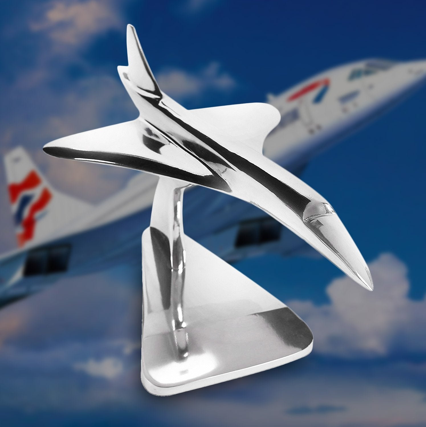 AM Living Executive Stainless Steel Concorde Jet Model 46cms