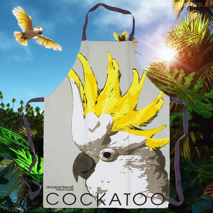 Cockatoo Kitchen Apron - - Annabel Trends - Yellow Octopus