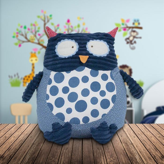 Fluffy Owl Cushion - - Annabel Trends - Yellow Octopus