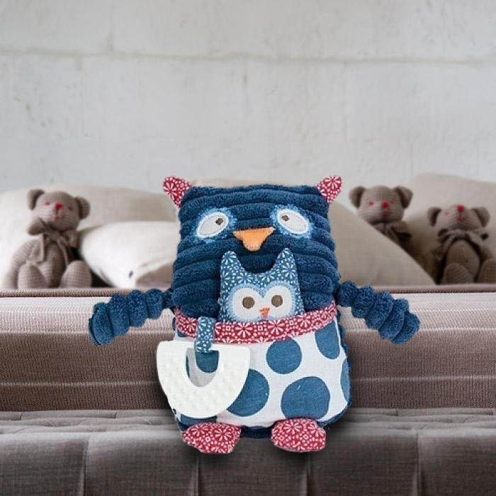 Pillow Pals Mumma Owl Teething Toy - - Annabel Trends - Yellow Octopus