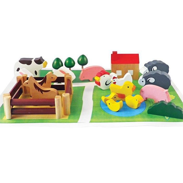Farm In A Tin - Wooden Animals Set - - Apple To Pears - Yellow Octopus