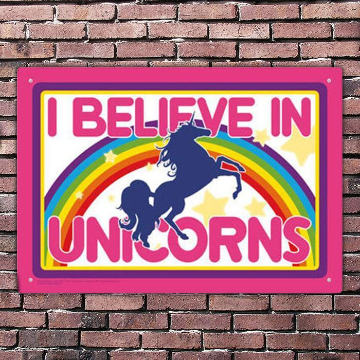 I Believe in Unicorns Rainbow Tin Sign - - Aquarius - Yellow Octopus