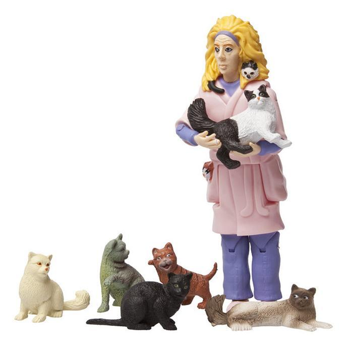 Crazy Cat Lady Action Figure Funny Grown Up Ornament Toy ...
