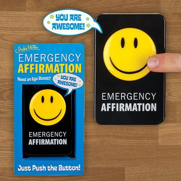Archie McPhee Emergency Affirmation Button