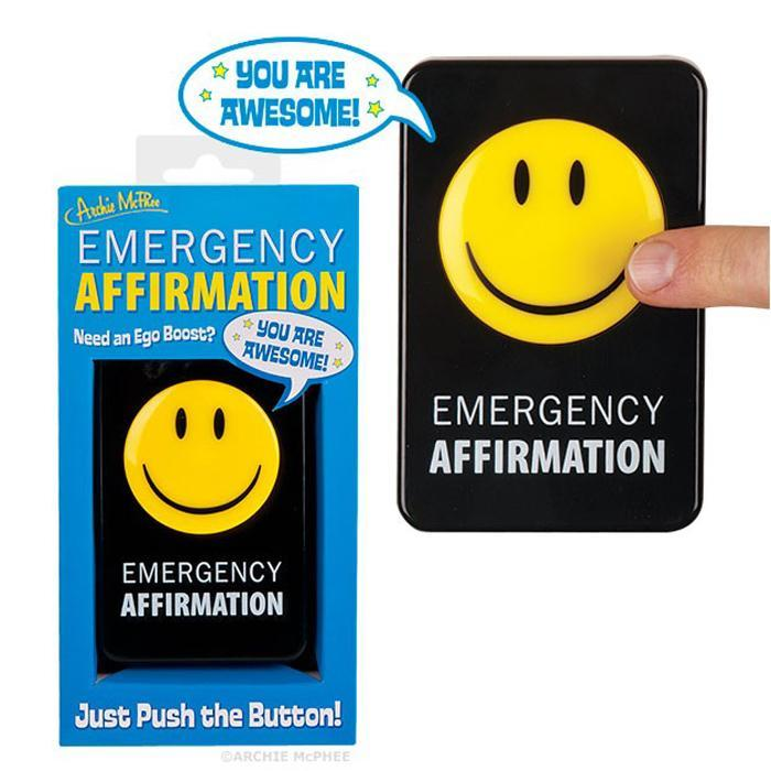 Emergency Affirmation Button - - Archie McPhee - Yellow Octopus