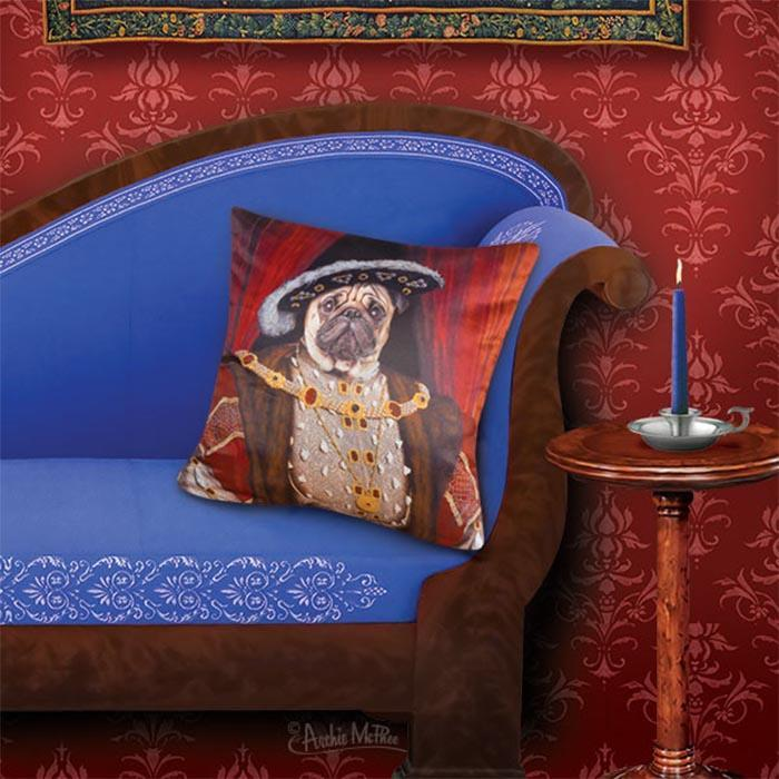 Henry The Pug Pillow Case - - Archie McPhee - Yellow Octopus