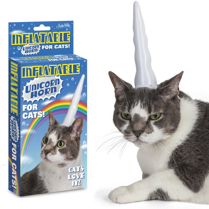 Inflatable Unicorn Horn For Cats - - Archie McPhee - Yellow Octopus