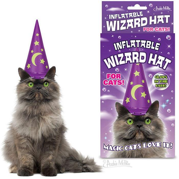 Inflatable Wizard Hat For Cats - - Archie McPhee - Yellow Octopus