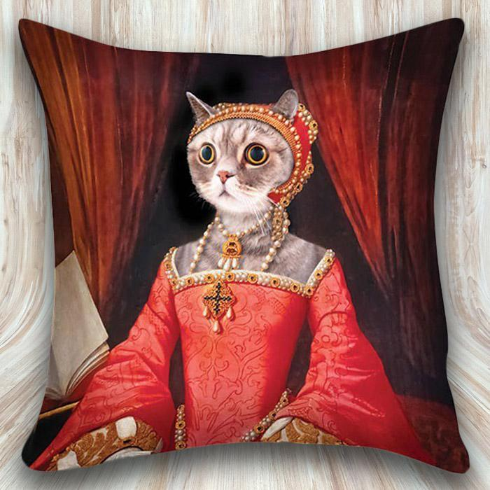 Renaissance Kitty Pillow Case - - Archie McPhee - Yellow Octopus