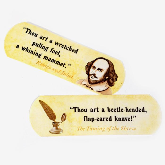 Shakespearean Insult Adhesive Bandages - - Archie McPhee - Yellow Octopus