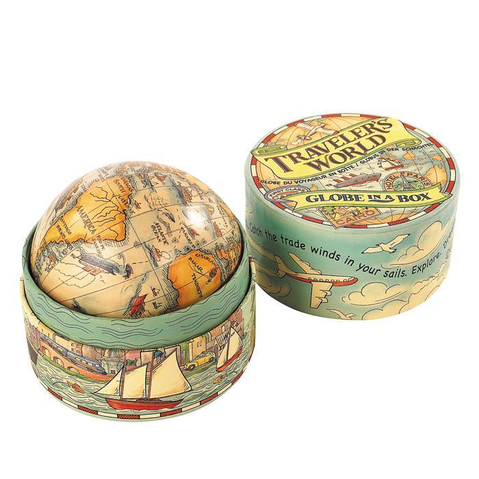 Traveller's World Globe In A Box - - Authentic Models - Yellow Octopus