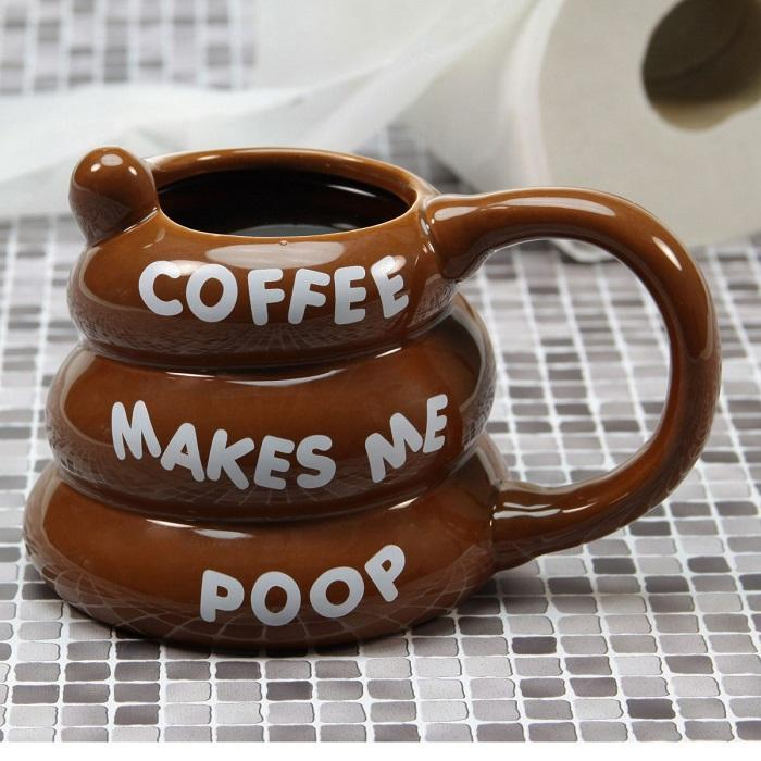 Coffee Makes Me Poop! Poo Shaped Coffee Mug - - Big Mouth Toys - Yellow Octopus