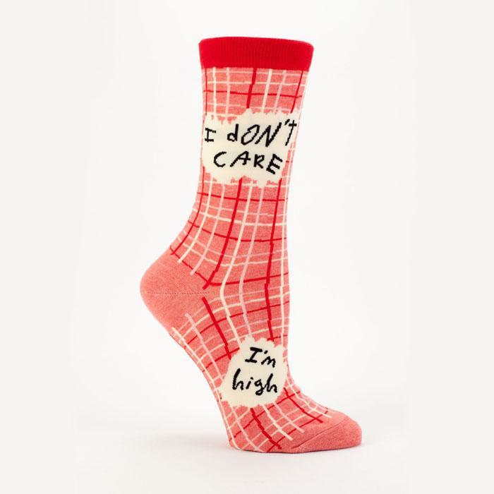 Blue Q I Don't Care, I'm High - Socks Red: Ladies Shoe Size 5-10