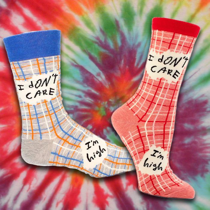 I Don't Care, I'm High - Socks - Red: Ladies Shoe Size 5-10 - Blue Q - Yellow Octopus