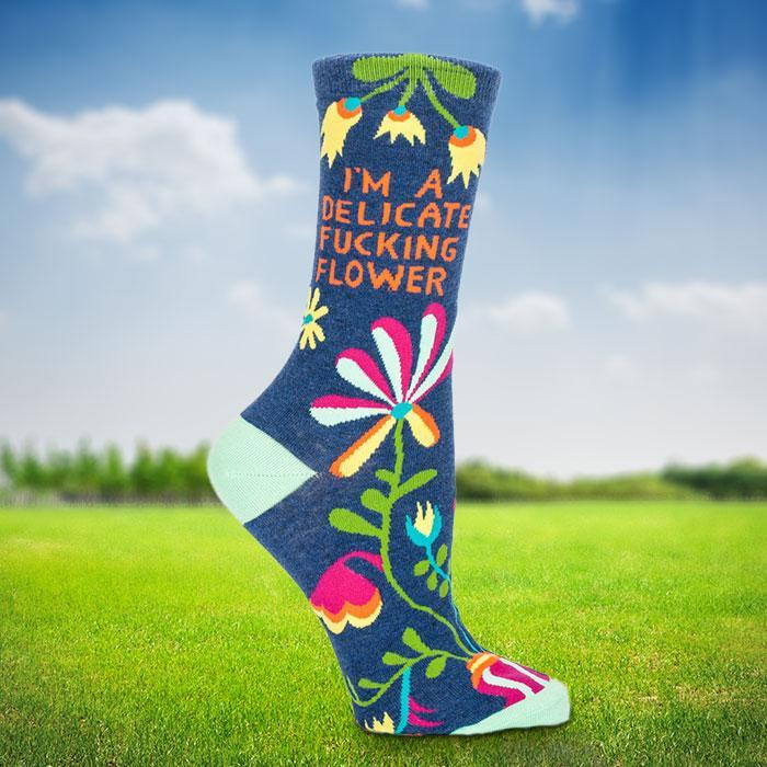 I'm A Delicate F*cking Flower Ladies Socks - - Blue Q - Yellow Octopus