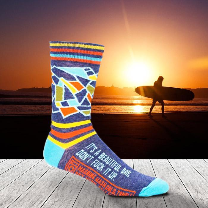 'It's A Beautiful Day, Don't F*ck It Up' Socks - Men's size 7-12 - Blue Q - Yellow Octopus