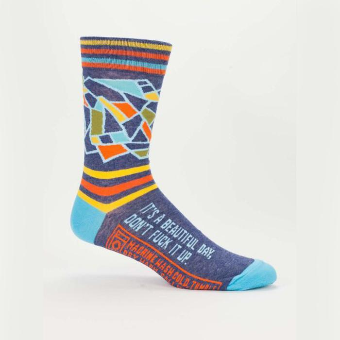 'It's A Beautiful Day, Don't F*ck It Up' Socks - Women's size 5-10 - Blue Q - Yellow Octopus
