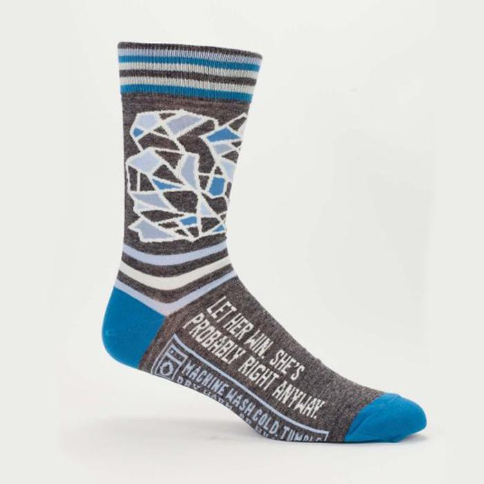 'Let Her Win, She's Probably Right Anyway' Socks - - Blue Q - Yellow Octopus