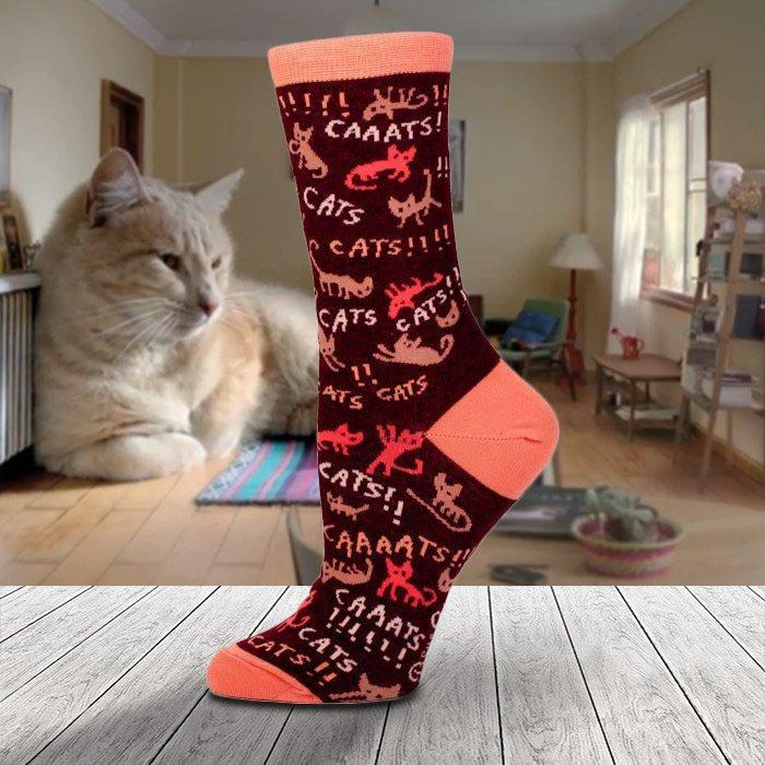 Socks For Crazy Cat Ladies - Caaaaats!!! - Blue Q - Yellow Octopus